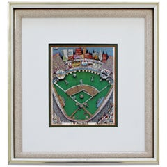 Contemporary Framed I Heart Baseball 3D Serigraph Signed Charles Fazzino 147/200