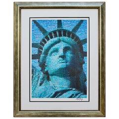 Contemporary Framed Liberty Photo Mosaic Seriolithograph Signed Neil Farkas 2005