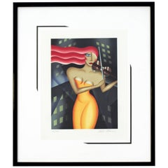 Contemporary Framed Lithograph of Red Haired Woman Signed Robin Morris, 1980s