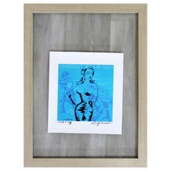 Contemporary Framed Niagara Signed a.P. Print Tomorrow's Another Night Blue