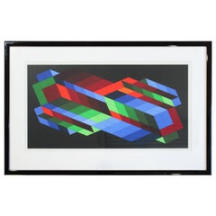 Contemporary Framed Op Art Lithograph Vasarely the Door 23/25 1980