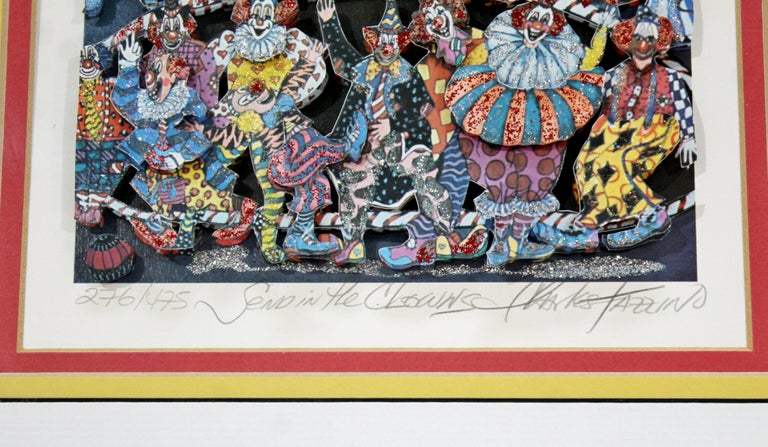 Late 20th Century Contemporary Framed Send Clowns 3D Serigraph Signed Charles Fazzino 276/475 COA For Sale
