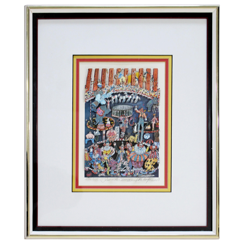 Contemporary Framed Send Clowns 3D Serigraph Signed Charles Fazzino 276/475 COA