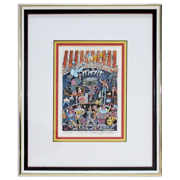 Contemporary Framed Send Clowns 3D Serigraph Signed Charles Fazzino 276/475 COA For Sale