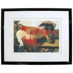 Contemporary Framed Serigraph Signed by Hessam Abrishami Spring Affair 231/395