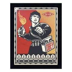 Contemporary Framed Shepard Fairey Artist Proof Molotov Man 2006 Red
