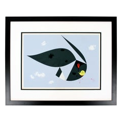 Contemporary Framed Signed Charley Harper Everglade Kite Ford Times 1957 w COA