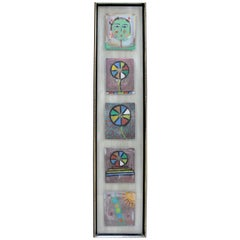 Contemporary Framed Steps to Happiness to Mixed-Media Art Signed Mihail 5 Pc COA