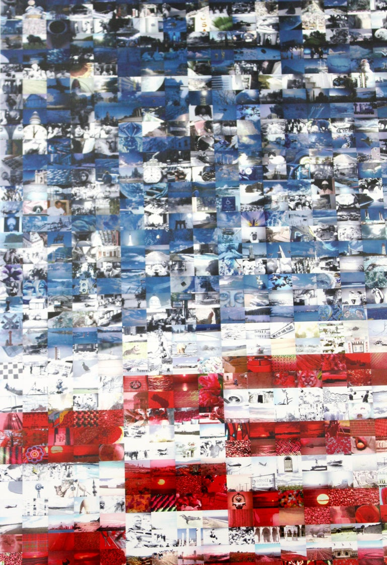 Contemporary Framed Three Flags Photo Mosaic Seriolithograph Signed Neil Farkas In Good Condition For Sale In Keego Harbor, MI