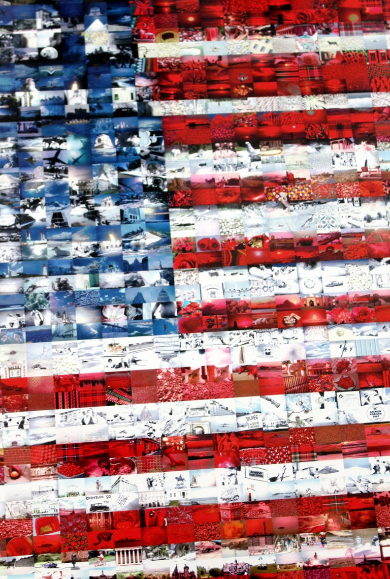 Paper Contemporary Framed Three Flags Photo Mosaic Seriolithograph Signed Neil Farkas For Sale