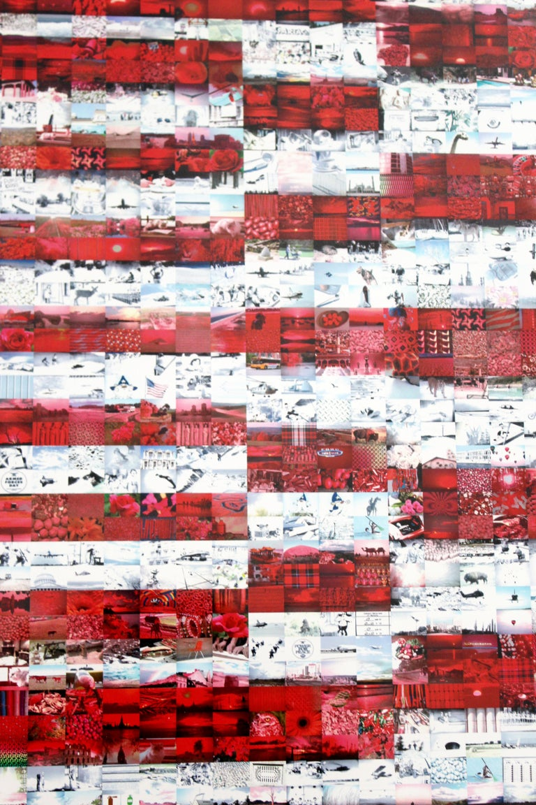 Contemporary Framed Three Flags Photo Mosaic Seriolithograph Signed Neil Farkas For Sale 1