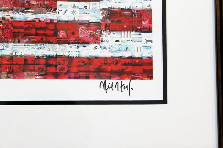 Contemporary Framed Three Flags Photo Mosaic Seriolithograph Signed Neil Farkas For Sale 3