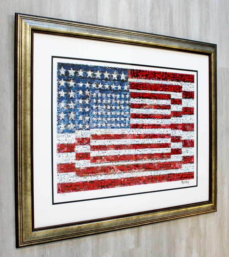 Contemporary Framed Three Flags Photo Mosaic Seriolithograph Signed Neil Farkas For Sale 4