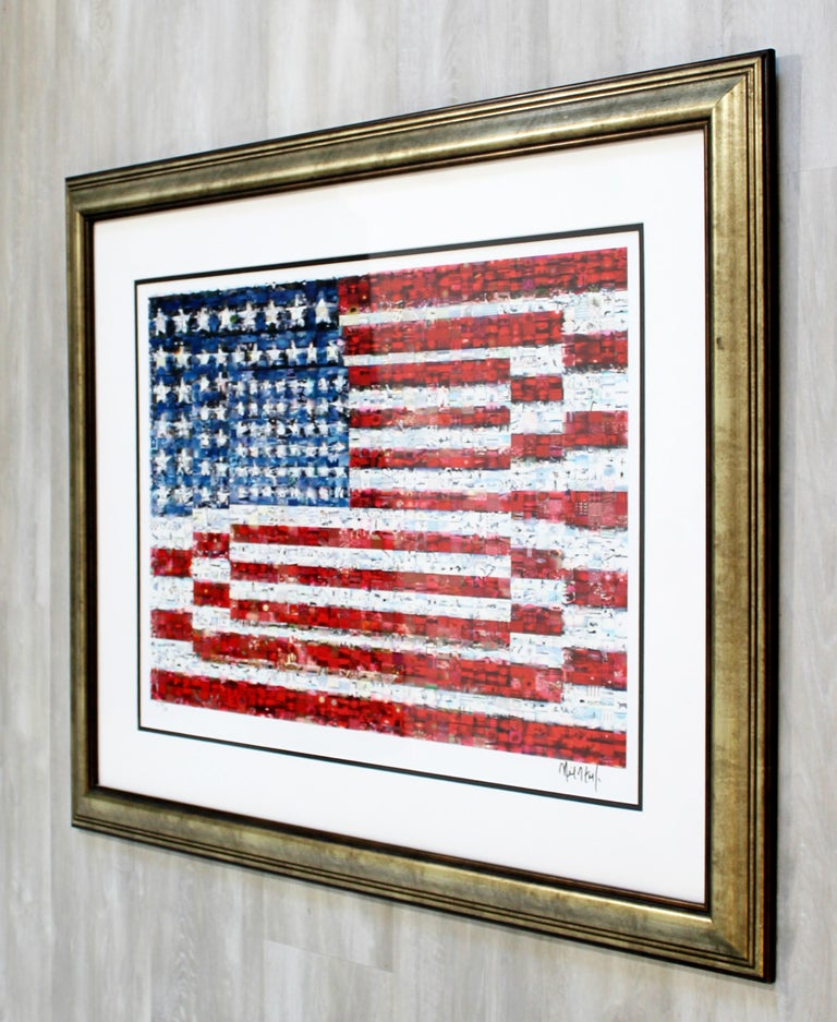 Contemporary Framed Three Flags Photo Mosaic Seriolithograph Signed Neil Farkas For Sale 5