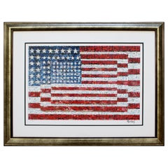 Contemporary Framed Three Flags Photo Mosaic Seriolithograph Signed Neil Farkas