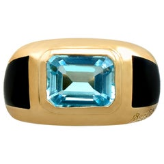 Contemporary French 3.11 Carat Topaz and Yellow Gold Dress Ring