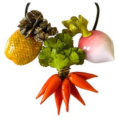 Contemporary French Designer Fruit and Vegetable Statement Necklace
