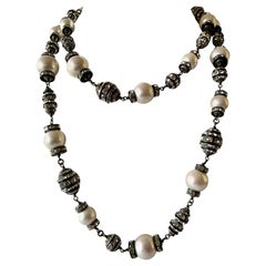 """Contemporary French Faux Pearl and Diamante """"Sautoir"""" Necklace"""