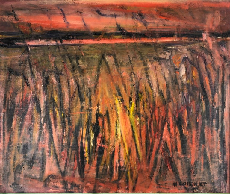 Beautiful original painting on canvas depicting the landscape of the Camargue region near Arles, France. The area feature is near the salt beds of Salin de Giraud where one can view the migration of pink flamingoes and white horses, numerous plant