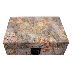 Contemporary French Printed Leather Floral Card Box with Playing Cards