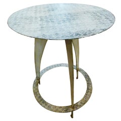 Contemporary French Round Iron Table, Painted with a Blue White Pattern