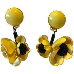 Contemporary French Sunflower Statement Earrings