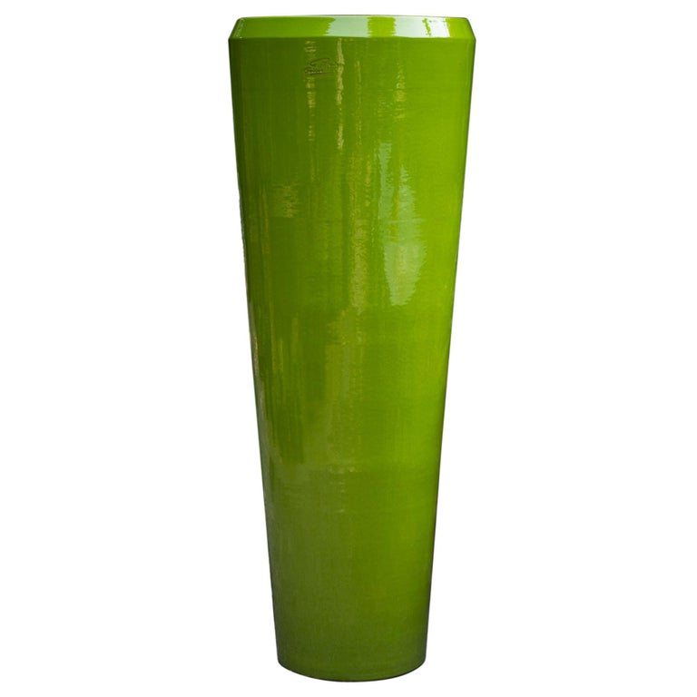 Contemporary French Tube Vase, Apple Green For Sale