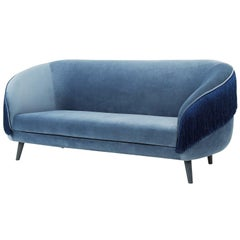 Contemporary Fringe Sofa in Shimmery Dusk Blue Velvet
