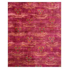 Contemporary Fuchsia Pink Chinese Dragon Design Hand-knotted Natural Silk Rug