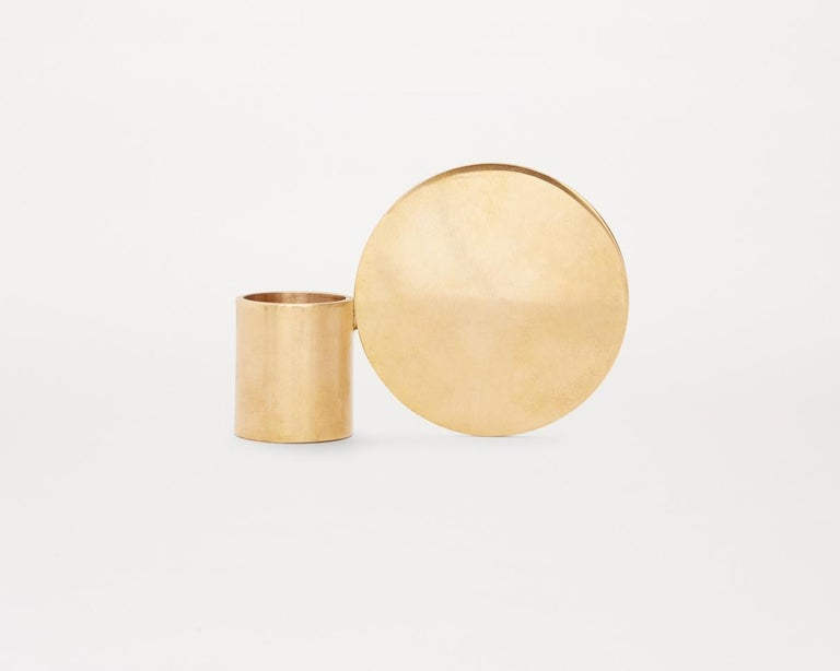 Scandinavian Modern Contemporary Fundament Candleholder Set in Brass For Sale