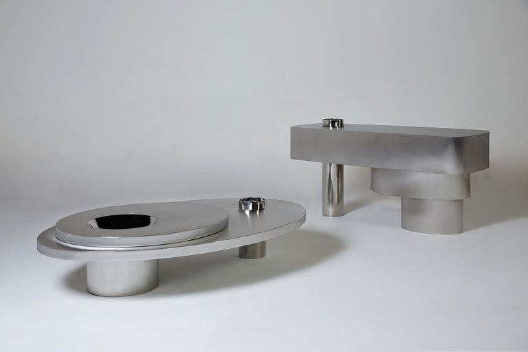 Brazilian Contemporary Futuristic Center Table in Stainless Steel For Sale