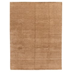 Contemporary Gabbeh Style Hand-Loom Solid Tan Wool Rug