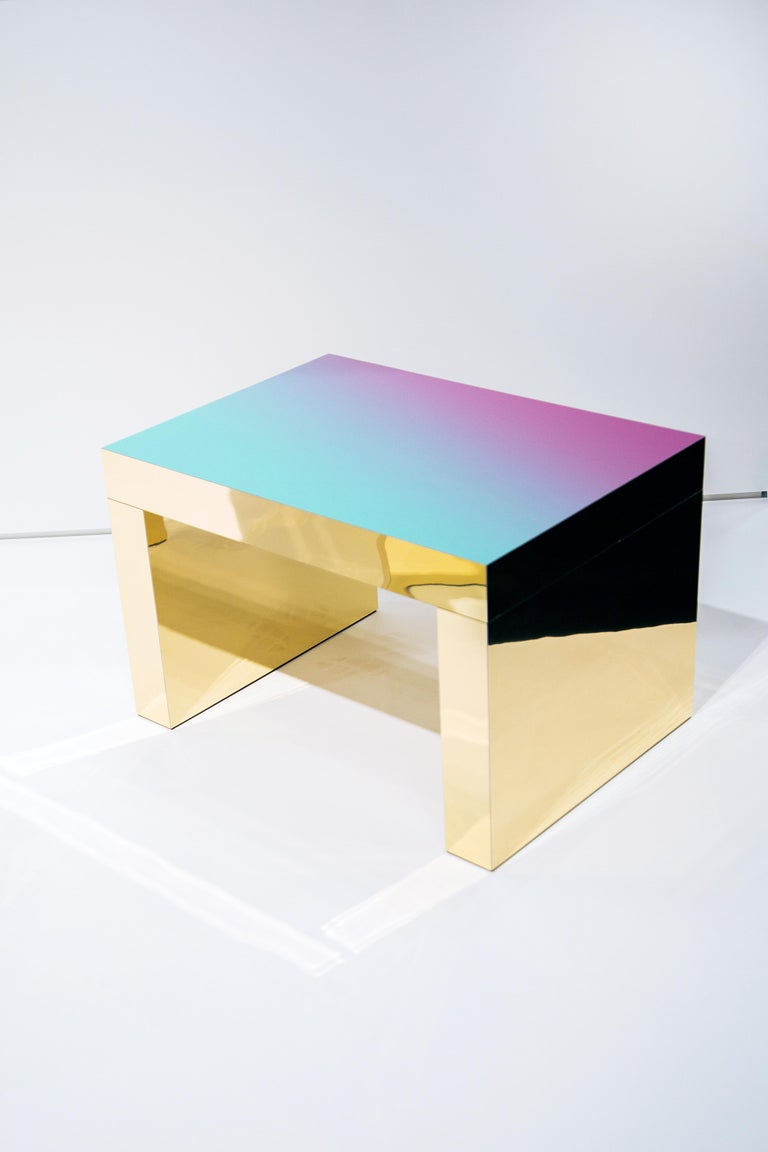 Gaby gradient desk by Chapel Petrassi Dimensions: 125 x 80 x 75 cm Materials: Polished Aluminium, Tailor made HPL laminate    Chapel Petrassi is a contemporary design and manufacturing company based in Paris and Naples founded by designers