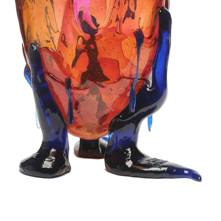 Modern Contemporary Gaetano Pesce Clear Special L Vase Soft Resin Amber Fuchsia Blue For Sale