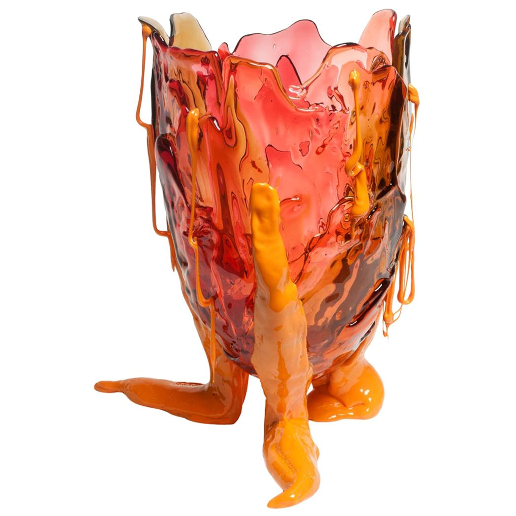 Contemporary Gaetano Pesce Clear Special L Vase Resin Brown Fuchsia Pink Yellow
