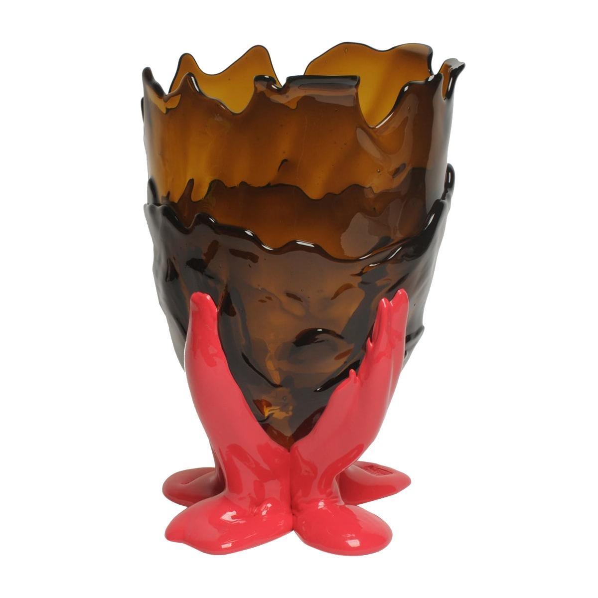 Contemporary Gaetano Pesce Clear Vase L Resin Brown Fuchsia