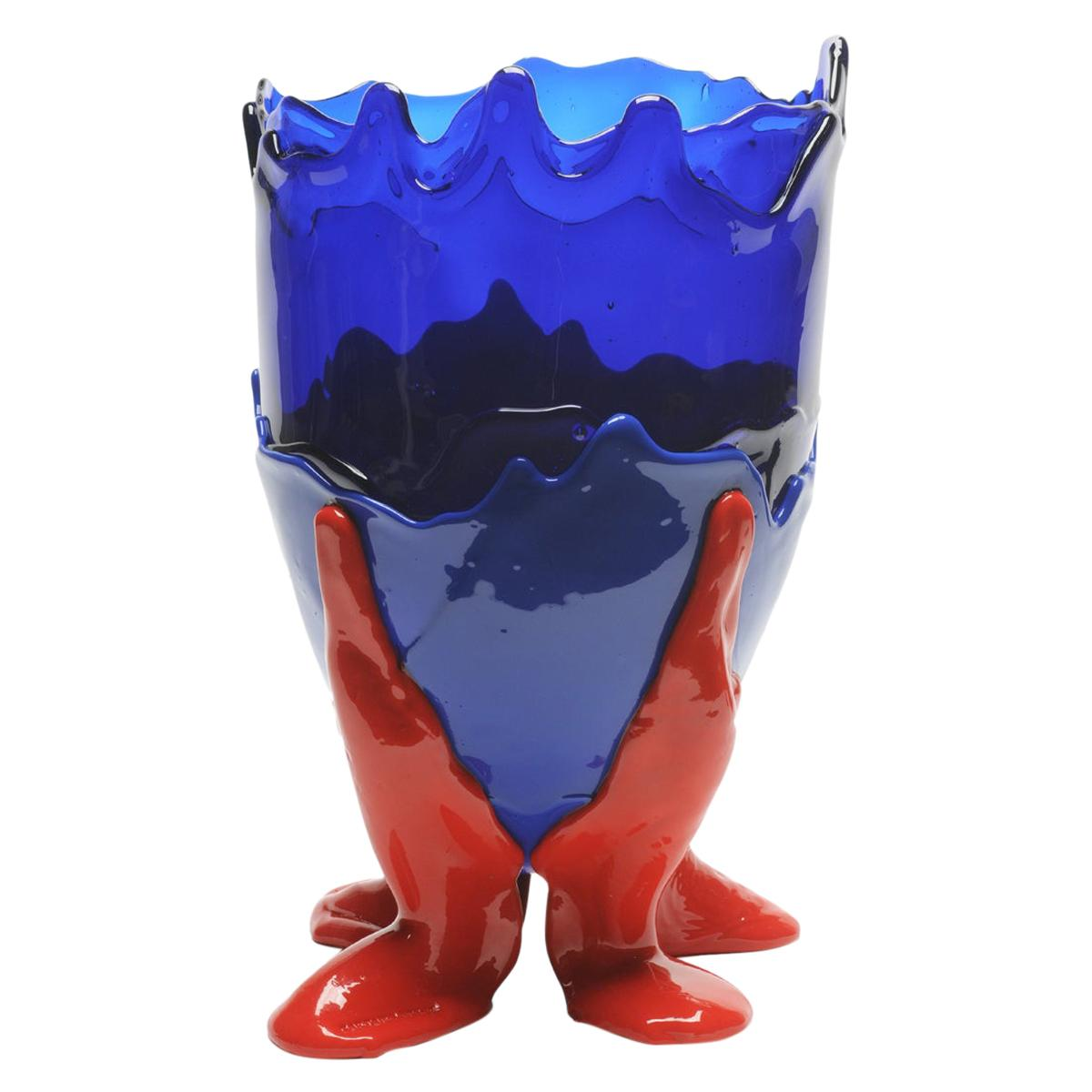 Contemporary Gaetano Pesce Clear L Vase Resin Blue Red