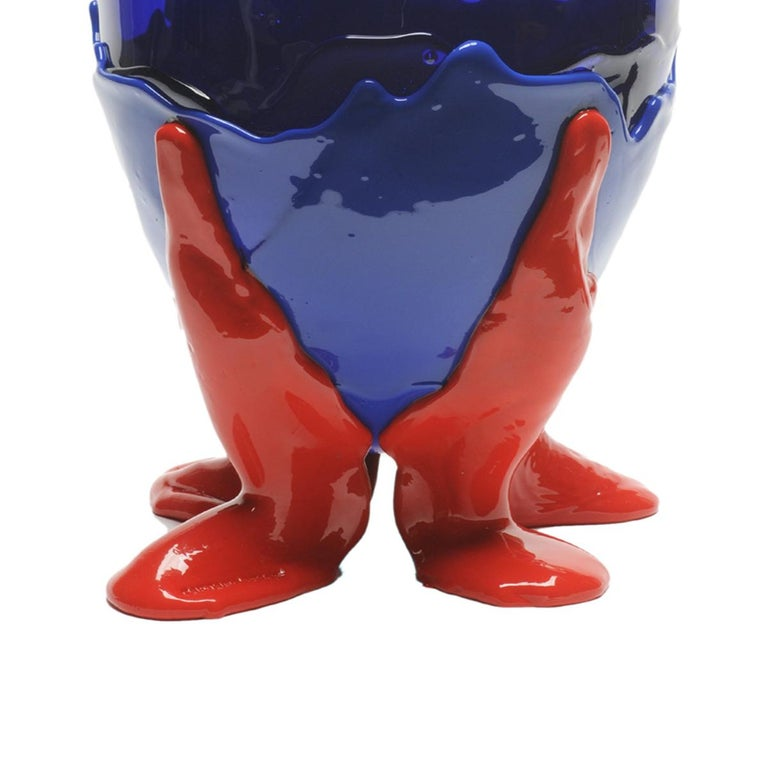 Arts and Crafts Contemporary Gaetano Pesce Clear XL Vase Resin Blue Red For Sale