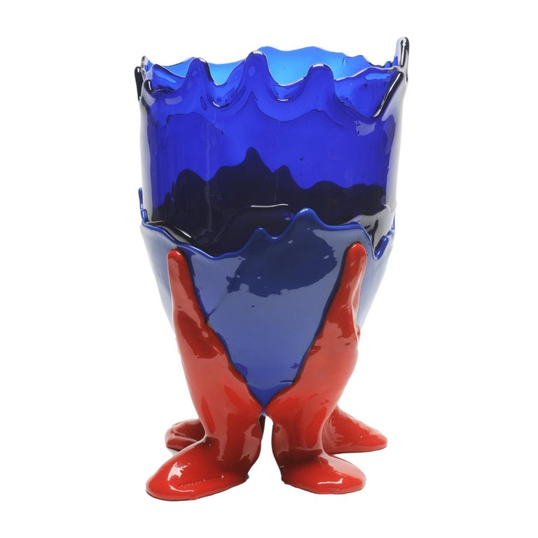 Contemporary Gaetano Pesce Clear XL Vase Resin Blue Red For Sale 1