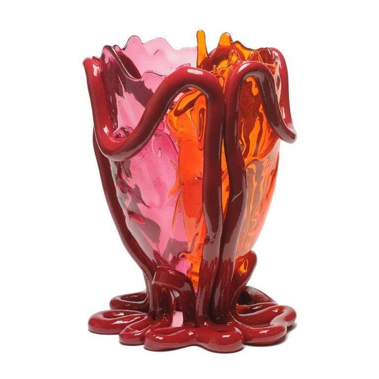 Italian Contemporary Gaetano Pesce Indian Summer XL Vase Resin Fuchsia Orange Bordeaux For Sale