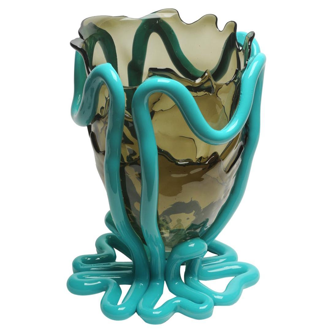 Contemporary Gaetano Pesce Indian Summer XL Vase Soft Resin Grey Turquoise