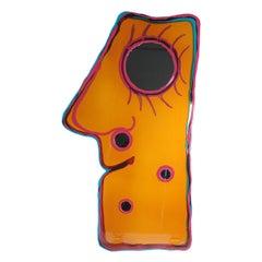 Contemporary Gaetano Pesce Look At Me XL Mirror Resin Yellow Fuchsia Green
