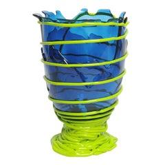 Contemporary Gaetano Pesce Pompitu II L Vase Soft Resin Blue Acid Green