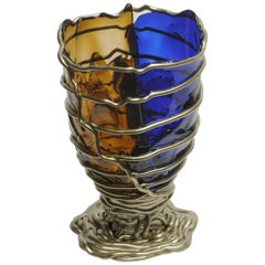 Contemporary Gaetano Pesce Pompitu II L Vase Soft Resin Blue Brown Bronze
