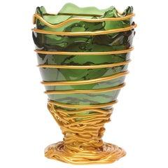 Contemporary Gaetano Pesce Pompitu II L Vase Soft Resin Green Gold