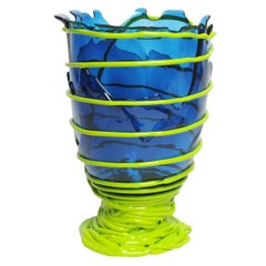 Contemporary Gaetano Pesce Pompitu II XL Vase Soft Resin Blue Acid Green