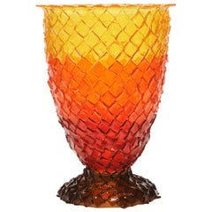 Contemporary Gaetano Pesce Rock on Fire L Vase Resin Red Brown Orange Yellow