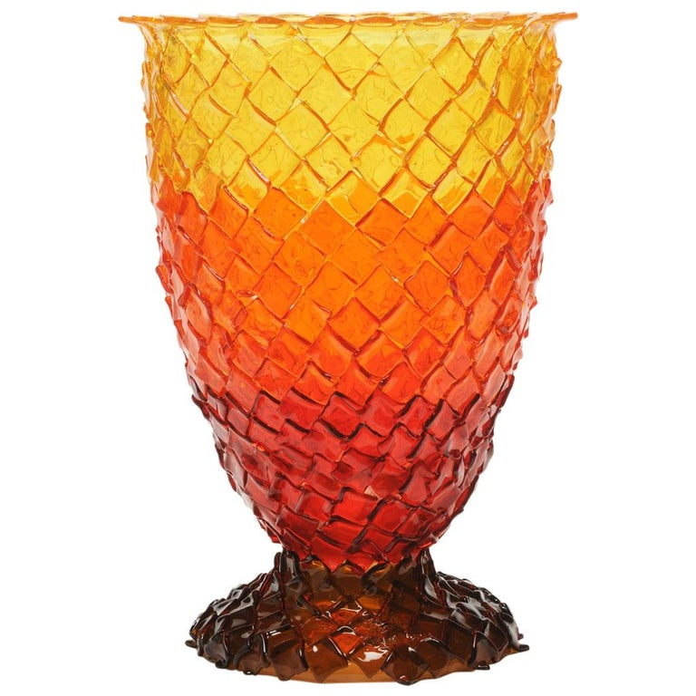 Contemporary Gaetano Pesce Rock on Fire L Vase Resin Red Brown Orange Yellow For Sale