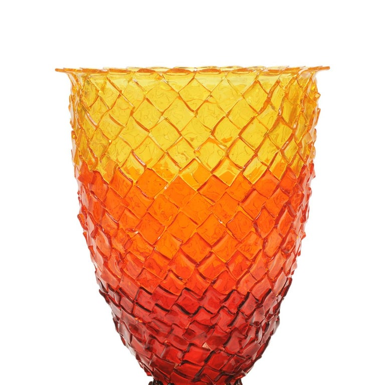 Rock on fire color vase - Clear brown, red, orange, yellow.  Vase in soft resin designed by Gaetano Pesce in 1995 for Fish Design collection.  Measures: L -Ø 22cm x H 36cm  Other sizes available. Vase in soft resin designed by Gaetano Pesce in 1995