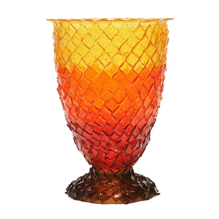 Contemporary Gaetano Pesce Rock on Fire L Vase Resin Red Brown Orange Yellow For Sale 1